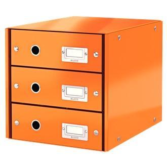 Suport cu 3 sertare, din carton laminat, LEITZ Click & Store - portocaliu 0