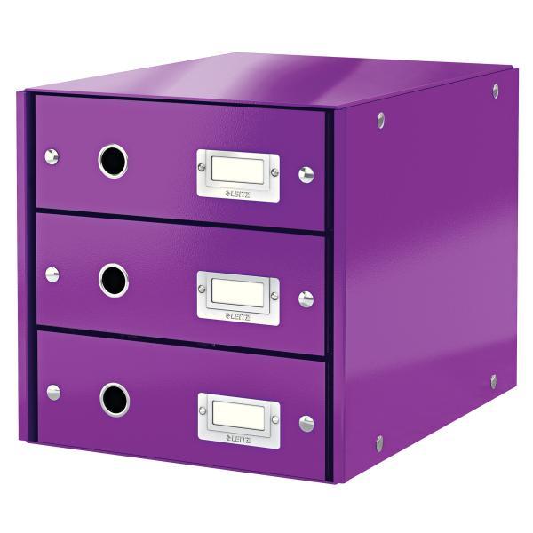 Suport cu 3 sertare, din carton laminat, LEITZ Click & Store - mov 0