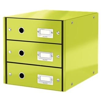 Suport cu 3 sertare, din carton laminat, LEITZ Click & Store - verde [0]