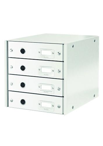 Suport cu 4 sertare, din carton laminat, LEITZ Click & Store - alb 0