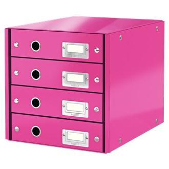 Suport cu 4 sertare LEITZ Click & Store, din carton laminat - roz 0