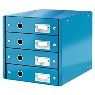 Suport cu 4 sertare LEITZ Click & Store, din carton laminat - albastru [0]