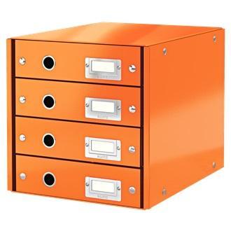 Suport cu 4 sertare LEITZ Click & Store, din carton laminat - portocaliu [0]