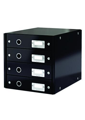 Suport cu 4 sertare LEITZ Click & Store, din carton laminat - negru 0