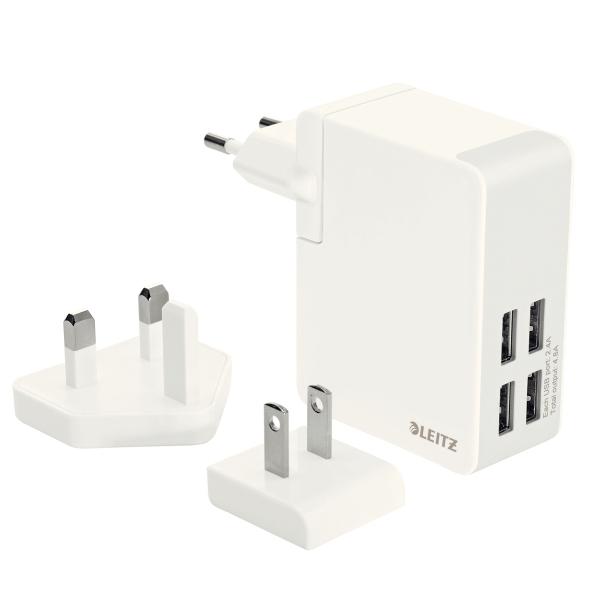 Incarcator LEITZ Complete Traveller USB, pentru perete, 24W, 4 porturi USB - alb 0