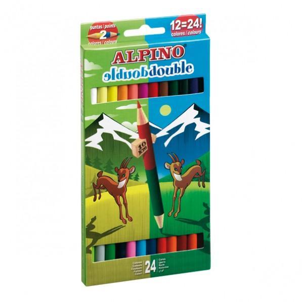Creioane colorate bicolore, cutie carton, 12 buc/24 culori/set, ALPINO Double Double [2]