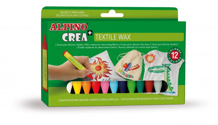 Set ALPINO Crea + TEXTILE - creioane cerate 2