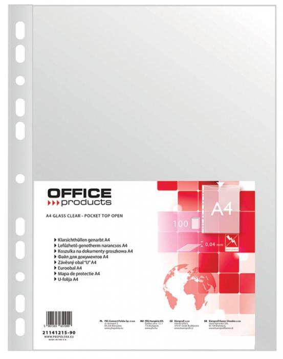 Folie protectie pentru documente A4, 40 microni, 100folii/set, Office Products - transparenta 0