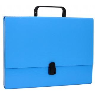 Servieta din carton laminat, A4/5cm, cu inchidere si maner, Office Products - albastru 0