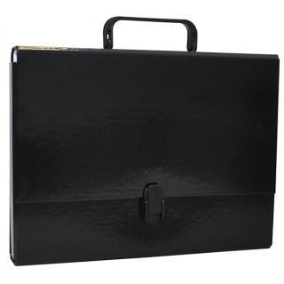 Servieta din carton laminat, A4/5cm, cu inchidere si maner, Office Products - negru [0]