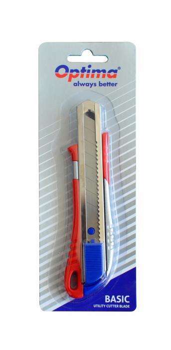 Cutter basic Optima, lama 18mm SK5, sina metalica, aluminiu cu ABS [3]