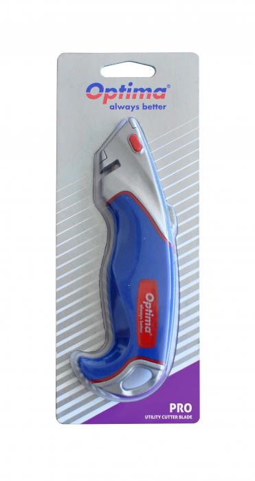 Cutter profesional Optima, lama trapezoidala + 2 rezerve SK5, aluminiu cu rubber grip 3