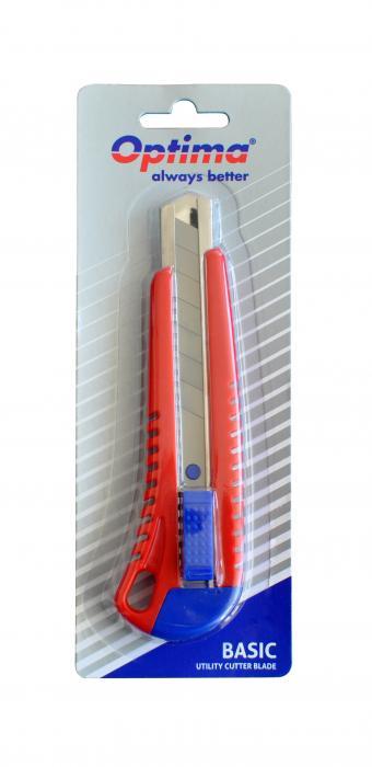 Cutter basic Optima, lama 18mm SK7, sina metalica, ABS 3