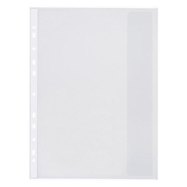 Folie protectie documente A4, cu clapa laterala, 120 microni, 10/set, Optima - transparent 0