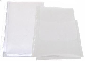 Folie protectie documente A4, cu burduf 20mm, PP - 150 microni, 10/set, Optima 0