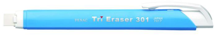 Radiera mecanica PENAC Tri Eraser, triunghiulara, 100% cauciuc - corp albastru pastel 3