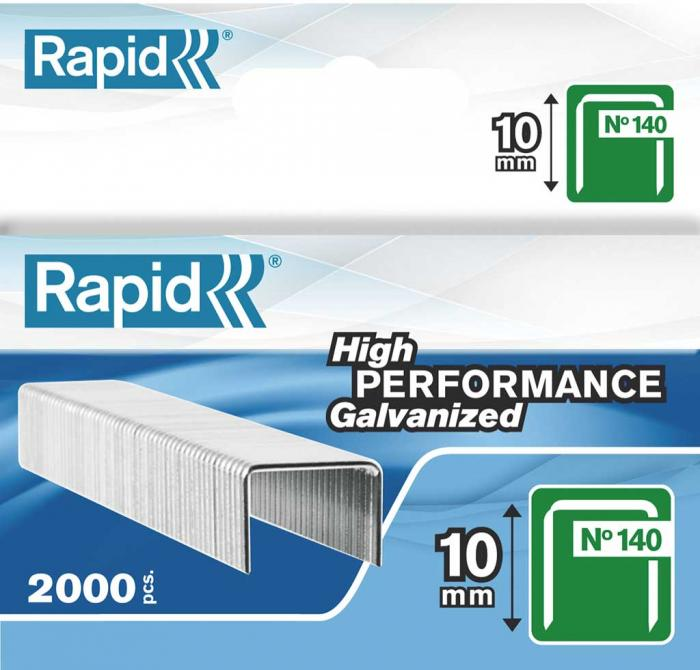Capse RAPID 140/10, 2.000 buc/cutie - pentru pistol de capsat RAPID 0