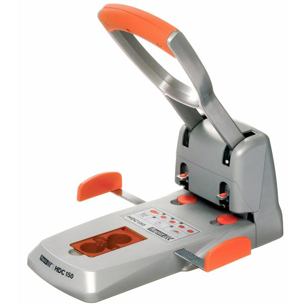 Perforator de mare capacitate metalic, RAPID Supreme HDC 150/2, 150 coli - argintiu/portocaliu 0