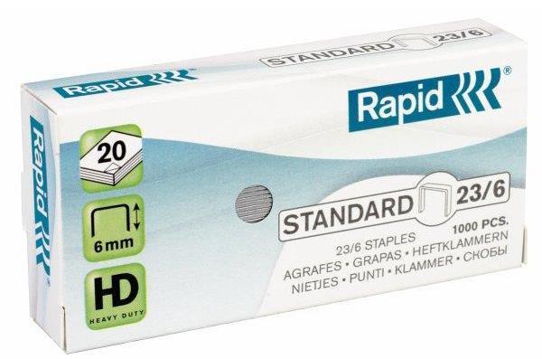 Capse RAPID Standard 23/ 6, 1000 buc/cutie - pentru 2-20 coli 1
