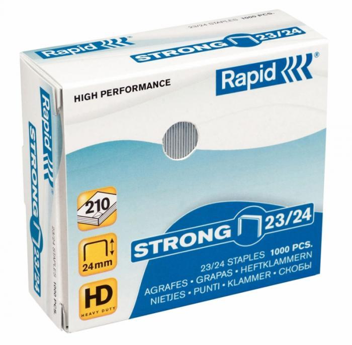 Capse RAPID Strong 23/24, 1000 buc/cutie - pentru 15-210 coli 1