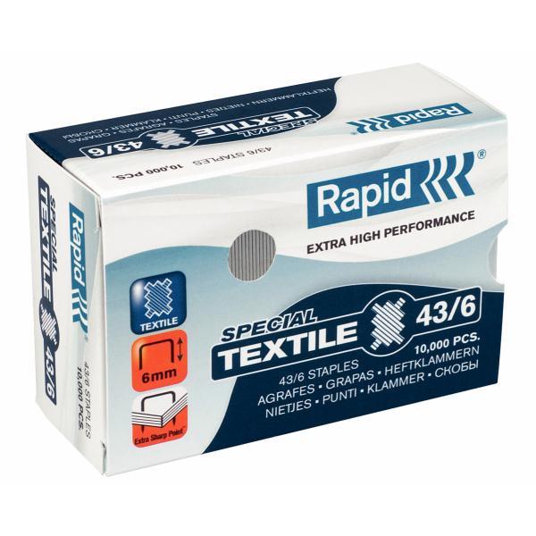 Capse RAPID 43/6G textile, 10.000 buc/cutie - pentru capsator RAPID Classic K1 Textile 0