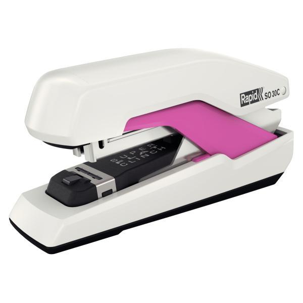 Capsator plastic RAPID Supreme Omnipress SO30c, 30 coli - alb/roz 2