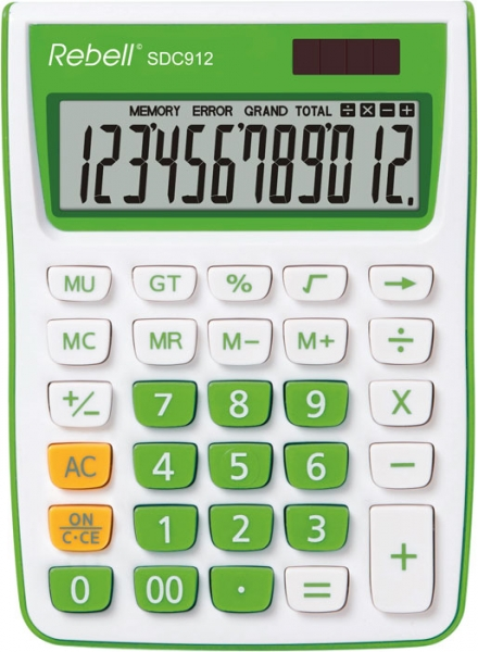 Calculator de birou, 12 digits, 145 x 104 x 26 mm, Rebell SDC 912 - alb/verde 0