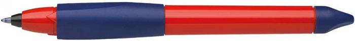 Roller cu cartus SCHNEIDER Base Ball, rubber grip, corp mov/rosu, cu decor - scriere albastra 0
