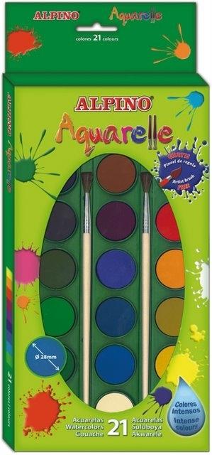 Acuarele 21 culori/cutie + 2 pensule gratis, Alpino 0
