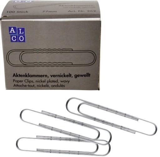 Agrafe nichelate 77 mm, ondulate, 100/cutie, ALCO 1