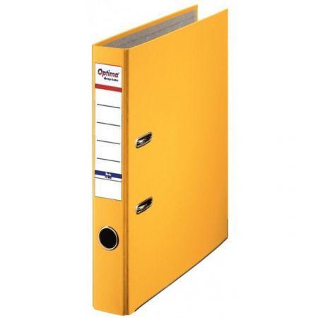 Biblioraft A4, plastifiat PP/paper, margine metalica, 50 mm, Optima Basic - galben 0