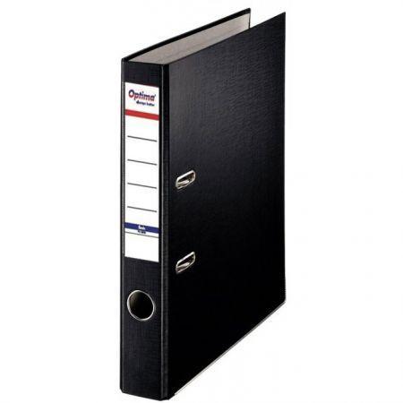 Biblioraft A4, plastifiat PP/paper, margine metalica, 50 mm, Optima Basic - negru [0]