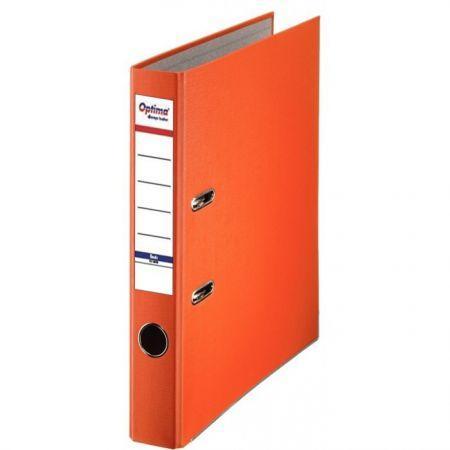 Biblioraft A4, plastifiat PP/paper, margine metalica, 50 mm, Optima Basic - portocaliu [0]