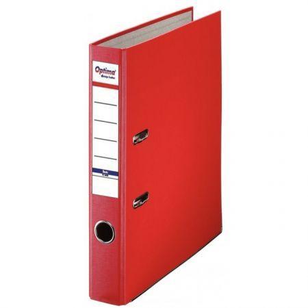 Biblioraft A4, plastifiat PP/paper, margine metalica, 50 mm, Optima Basic - rosu 0