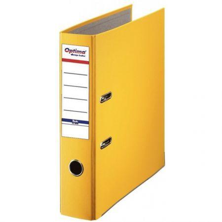 Biblioraft A4, plastifiat PP/paper, margine metalica, 75 mm, Optima Basic - galben [0]
