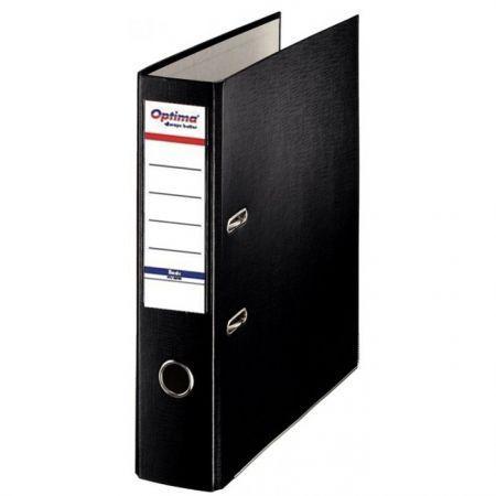 Biblioraft A4, plastifiat PP/paper, margine metalica, 75 mm, Optima Basic - negru [0]