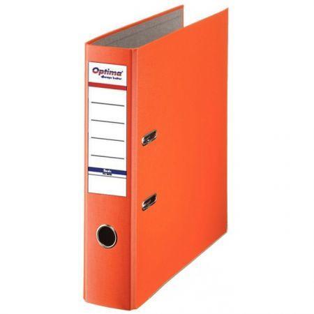 Biblioraft A4, plastifiat PP/paper, margine metalica, 75 mm, Optima Basic - portocaliu 0