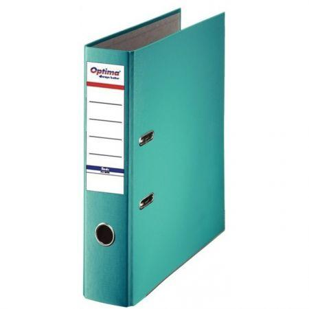 Biblioraft A4, plastifiat PP/paper, margine metalica, 75 mm, Optima Basic - turqoise [0]