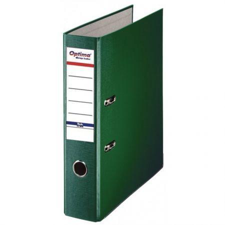 Biblioraft A4, plastifiat PP/paper, margine metalica, 75 mm, Optima Basic - verde [0]