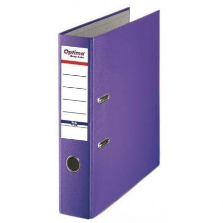 Biblioraft A4, plastifiat PP/paper, margine metalica, 75 mm, Optima Basic - violet [0]