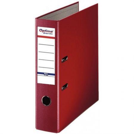 Biblioraft A4, plastifiat PP/paper, margine metalica, 75 mm, Optima Basic - visiniu 0