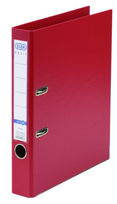 Biblioraft A4, plastifiat PP/PP, margine metalica, 50 mm, ELBA Smart Pro+ - rosu [0]