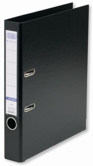 Biblioraft A4, plastifiat PP/PP, margine metalica, 50 mm, ELBA Smart Pro+ - negru 0