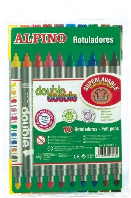 Carioca cu 2 capete, varf subtire/gros, 10 culori/set, ALPINO Double 0