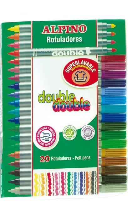 Carioca cu 2 capete, varf subtire/gros, 20 culori/set, ALPINO Double 0