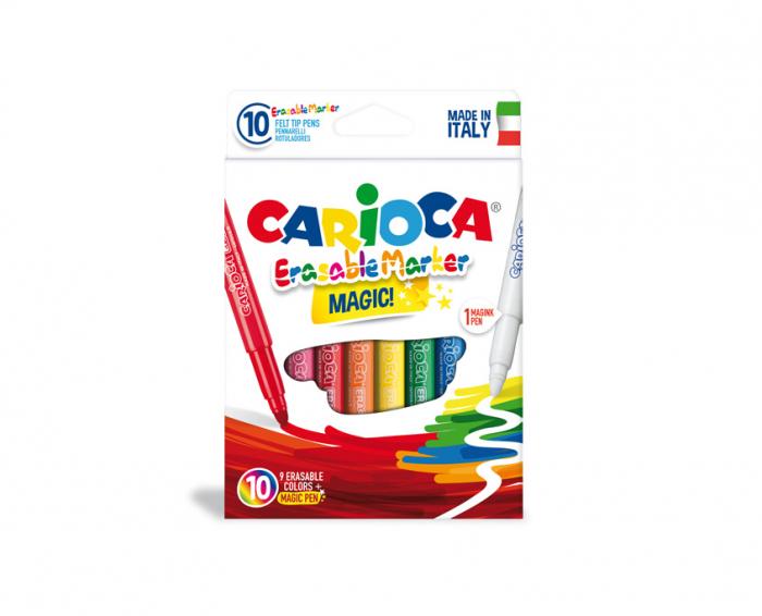Carioca erasable, varf gros - 6mm, 9 culori+1 erasable marker/cutie, CARIOCA Erasable 0