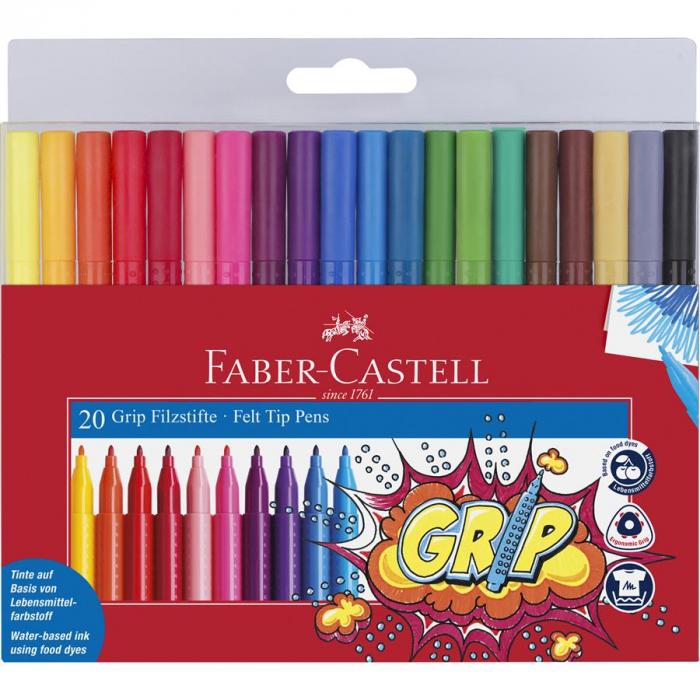 Carioca Grip Faber-Castell, 20 culori in etui plastic 0