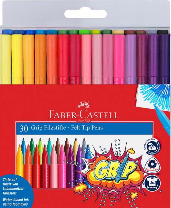 Carioca Grip Faber-Castell, 20 culori in etui plastic 2