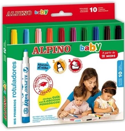 Carioca lavabila, 10 culori/set, ALPINO Baby 0