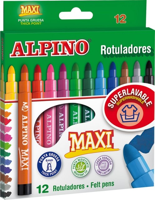Carioca lavabila, 12 culori/cutie, ALPINO Maxi 0